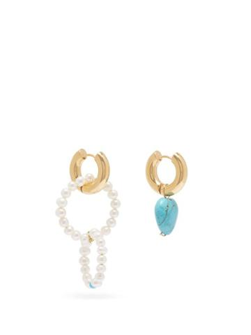 Matchesfashion.com Timeless Pearly - Mismatched Turquoise & Pearl Hoop Earrings - Womens - Blue
