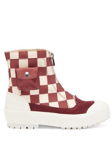 Matchesfashion.com Jw Anderson - Zipped Check Cotton-canvas Boots - Womens - Red White