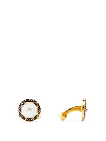 Matchesfashion.com Deakin & Francis - Diamond, Mother-of-pearl & 18kt Gold Cufflinks - Mens - Gold