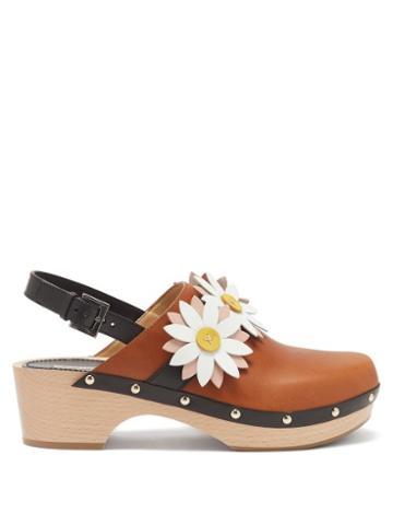 Ladies Shoes Fabrizio Viti - Carly Floral-appliqu Leather Slingback Clogs - Womens - Tan
