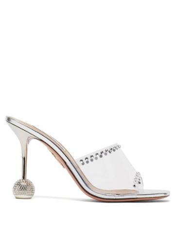 Matchesfashion.com Aquazzura - Secrets 85 Crystal-embellished Pvc Mules - Womens - Silver