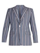 Matchesfashion.com Connolly - Striped Cotton Blend Blazer - Mens - Blue