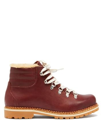 Matchesfashion.com Montelliana - Marlena Shearling Lined Leather Aprs Ski Boots - Womens - Burgundy