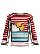 Redvalentino Sunset-motif Striped Crochet Top