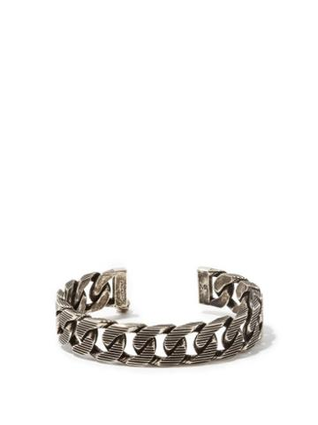 Matchesfashion.com Alexander Mcqueen - Engraved Chain-link Cuff - Mens - Silver