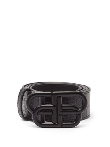 Balenciaga - Bb-plaque Crocodile-effect Leather Belt - Mens - Black
