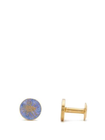 Matchesfashion.com Alice Made This - Thistle Round Patina Brass Cufflinks - Mens - Blue