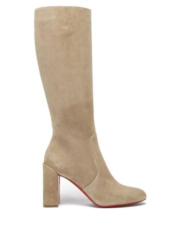 Matchesfashion.com Christian Louboutin - Cavalika 85 Suede Knee Boots - Womens - Beige
