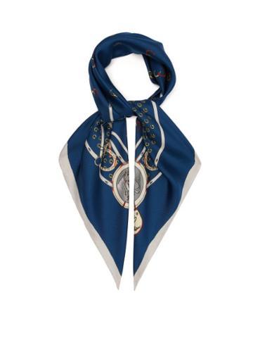 Matchesfashion.com Gucci - Gg Horseshoe Print Silk Scarf - Mens - Blue