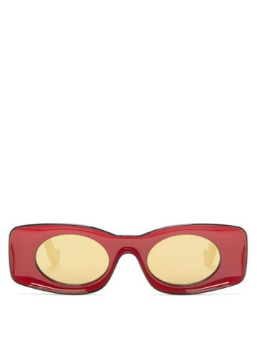 Matchesfashion.com Loewe Paula's Ibiza - Rectangular Oval Acetate Sunglasses - Womens - Red
