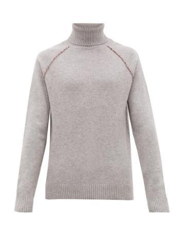 Matchesfashion.com Alanui - Palm Tree Embroidered Roll Neck Cashmere Sweater - Mens - Grey