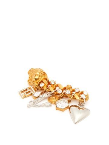 Matchesfashion.com Versace - Charm Embellished Medusa Head Brooch - Womens - Gold