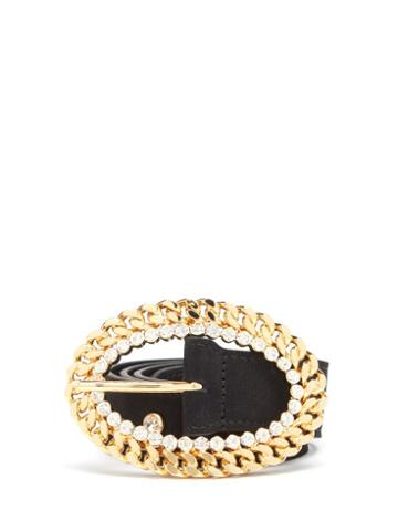 Matchesfashion.com Alessandra Rich - Chain-buckle Crystal-stud Leather Belt - Womens - Black