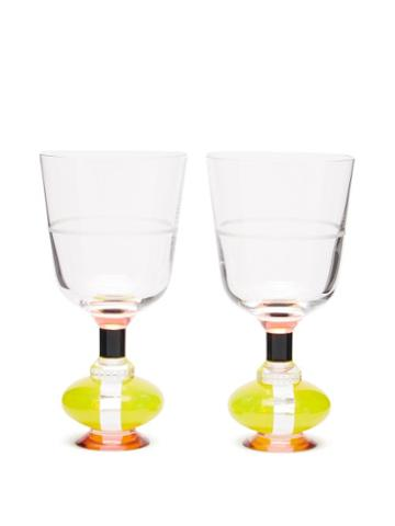 Matchesfashion.com Reflections Copenhagen - Set Of Two Richmond Crystal Glasses - Clear Multi