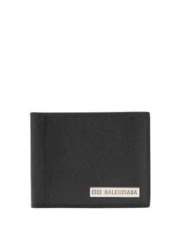 Balenciaga - Bb-plaque Grained-leather Bifold Wallet - Mens - Black