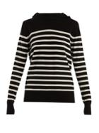 Saint Laurent Hooded Striped Cashmere Sweater