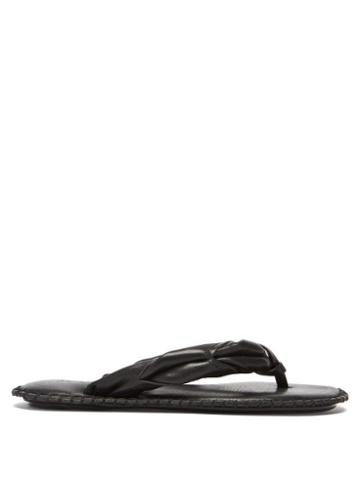 Matchesfashion.com Acne Studios - Twisted Leather Flip Flops - Womens - Black