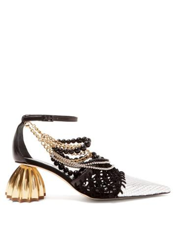 Matchesfashion.com Loewe - Leather And Macram Pointed Pumps - Womens - Black White