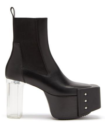 Rick Owens - Clear-heel Bevelled Leather Platform Boots - Mens - Black