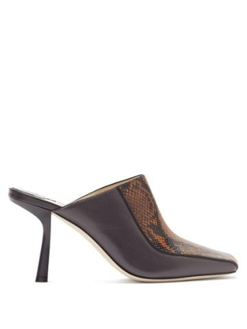 Matchesfashion.com Jimmy Choo - Marcel 85mm Snake-effect Leather Mules - Womens - Black Tan