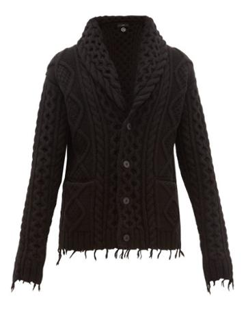 Matchesfashion.com Alanui - Fisherman Icon Wool Blend Cardigan - Mens - Black