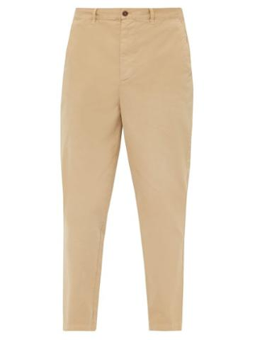 Matchesfashion.com Raey - Tapered Leg Cotton Chino Trousers - Mens - Dark Beige