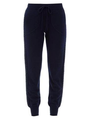Matchesfashion.com Bella Freud - Sequinned Wool-blend Jersey Track Pants - Womens - Navy