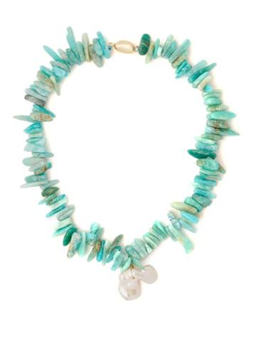 Matchesfashion.com Timeless Pearly - Turquoise & Baroque Pearl Necklace - Womens - Green
