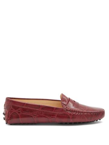Matchesfashion.com Tod's - Gommino Crocodile-effect Leather Penny Loafers - Womens - Red