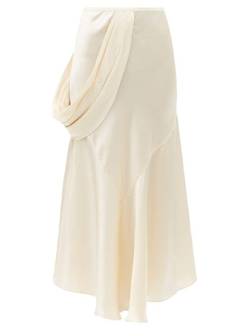 Matchesfashion.com Simone Rocha - Draped-side Silk-satin Slip Skirt - Womens - Cream
