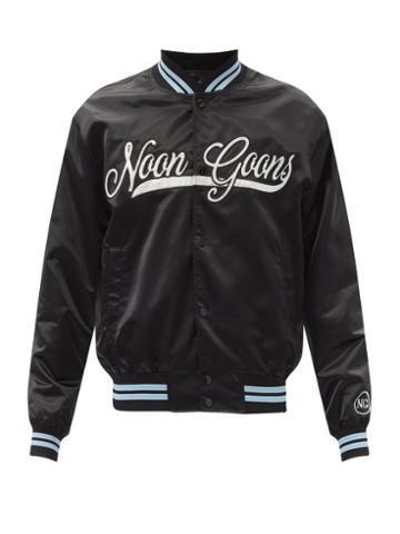 Matchesfashion.com Noon Goons - Elysian Crystal-logo Satin Varsity Jacket - Mens - Black Blue