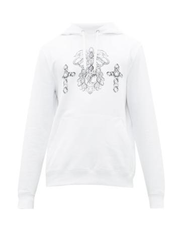 Matchesfashion.com Versace - Ornate Print Cotton Hooded Sweatshirt - Mens - White