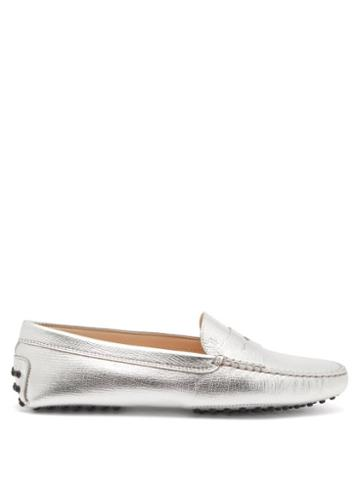 Tod's - Gommini Metallic Grained-leather Loafers - Womens - Silver