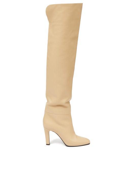 Matchesfashion.com Saint Laurent - Blu Knee-high Leather Boots - Womens - Cream