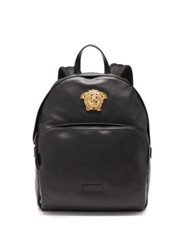 Mens Bags Versace - Medusa Head Leather Backpack - Mens - Black Gold