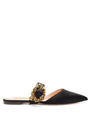 Matchesfashion.com Rupert Sanderson - Gem Crystal Embellished Calf Hair Loafers - Womens - Black