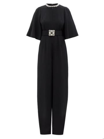 Andrew Gn - Crystal-embellished Crepe Jumpsuit - Womens - Black