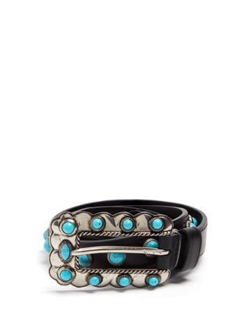 Prada Turquoise Stone-embellished Skinny Leather Belt