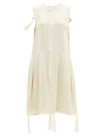 Matchesfashion.com Maison Margiela - Raw-edge Satin Dress - Womens - Cream
