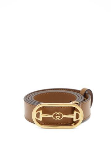 Matchesfashion.com Gucci - Horsebit Leather Belt - Womens - Beige
