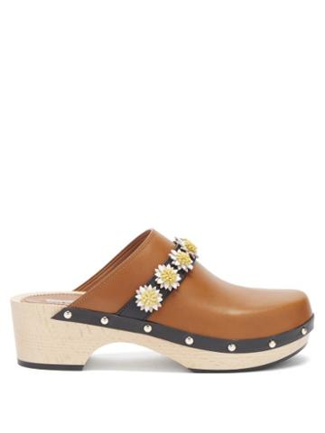 Ladies Shoes Fabrizio Viti - Jean Floral-appliqu Leather Clogs - Womens - Tan