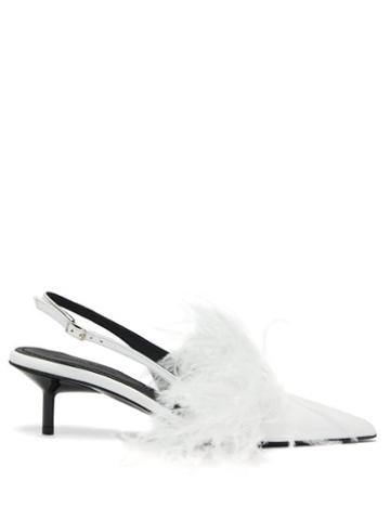 Matchesfashion.com Marques'almeida - Feather Trim Leather Slingback Pumps - Womens - White