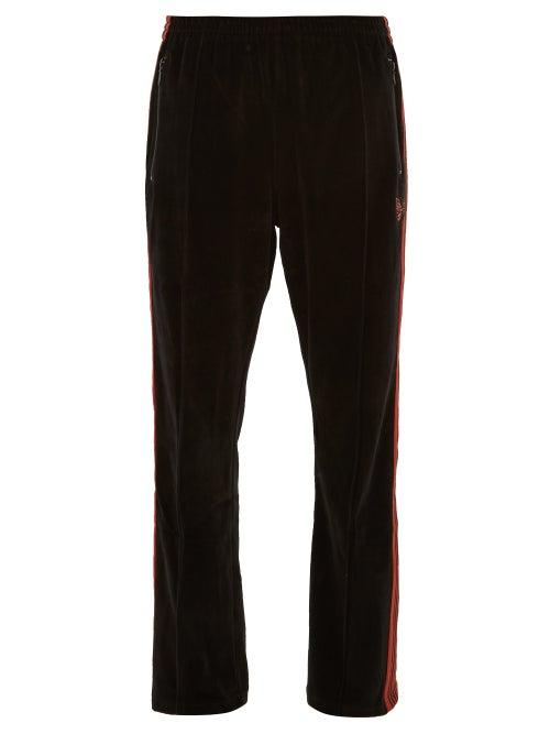 Matchesfashion.com Needles - Velour Side Striped Track Pants - Mens - Black