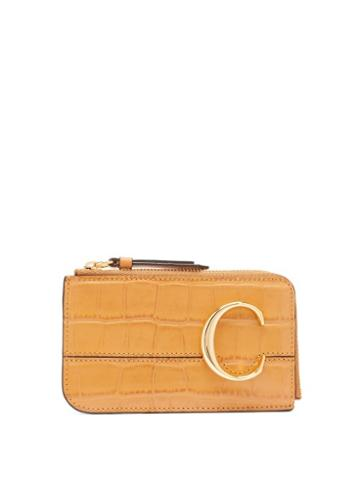 Matchesfashion.com Chlo - The C Logo Leather Card And Coin Purse - Womens - Amber
