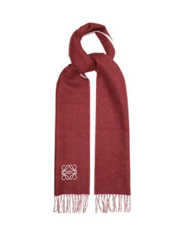 Loewe - Anagram-embroidered Wool-blend Scarf - Mens - Burgundy Multi