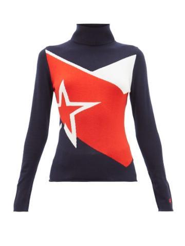 Matchesfashion.com Perfect Moment - Super Day Star Intarsia Merino Wool Sweater - Womens - Navy