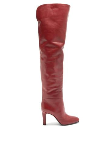 Matchesfashion.com Saint Laurent - Blu Over-the-knee Leather Boots - Womens - Red