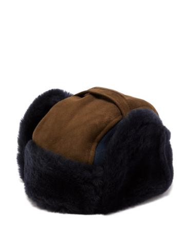 Matchesfashion.com Paul Smith - Panelled Shearling Chapka Hat - Mens - Navy
