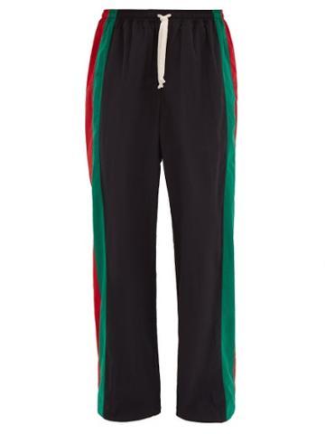 Matchesfashion.com Gucci - Web Stripe Cotton Track Pants - Mens - Black Multi
