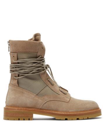 Matchesfashion.com Amiri - Suede And Canvas Combat Boots - Mens - Beige